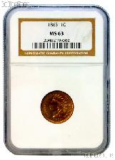 1863 Indian Head Cent in NGC MS 63