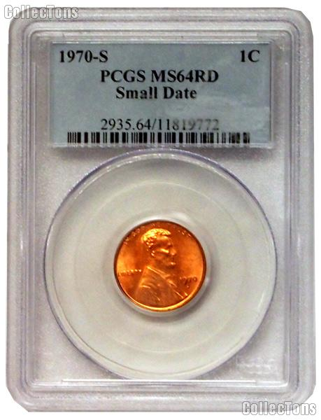 1970-S Lincoln Memorial Cent Small Date in PCGS MS 64 RD