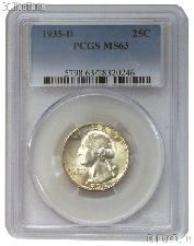 1935-D Washington Silver Quarter in PCGS MS 63