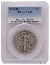 1938-D Walking Liberty Silver Half Dollar KEY DATE in PCGS VG 10