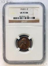 1913-S Lincoln Wheat Cent KEY DATE in NGC VF 25 BN