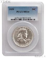1959 Franklin Silver Half Dollar in PCGS MS 64
