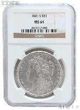 1881-S Morgan Silver Dollar in NGC MS 64