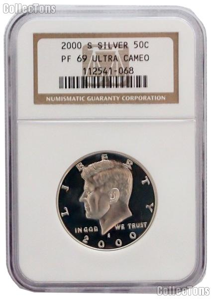 2000-S Kennedy Silver PROOF Half Dollar in NGC PF 69 ULTRA CAMEO