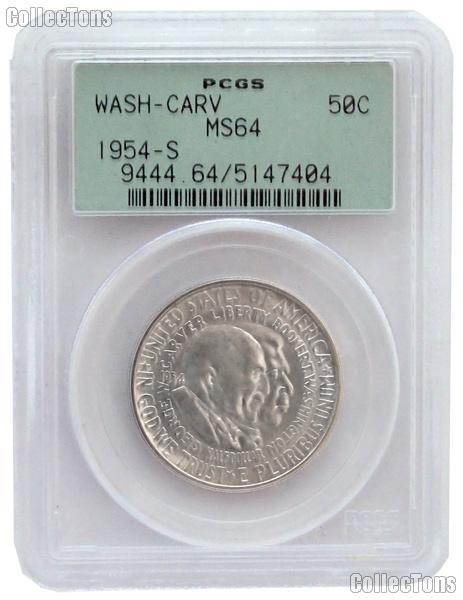 1954-S Washington-Carver Silver Commemorative Half Dollar in PCGS MS 64