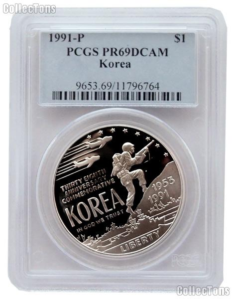 1991-P Korean War Memorial Commemorative Proof Silver Dollar in PCGS PR 69 DCAM