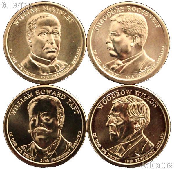2013-D Presidential Dollar Set BU Full Year Set of 4 Coins from Denver Mint