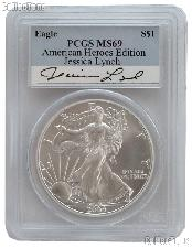 2004 American Silver Eagle Dollar signed by Jessica Lynch in PCGS MS 69