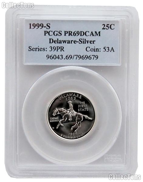 1999-S Delaware PROOF Silver State Quarter in PCGS PR 69 DCAM