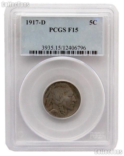 1917-D Buffalo Nickel in PCGS F 15