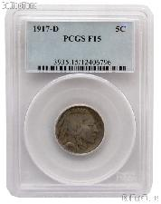 1917-D Buffalo Nickel in PCGS F 15