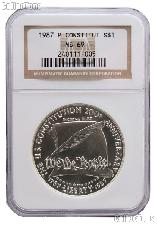 1987-P U.S. Constitution Bicentennial Commemorative Uncirculated Silver Dollar in NGC MS 69
