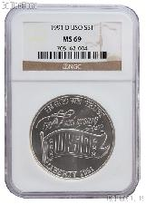 1991-D USO Commemorative Uncirculated Silver Dollar in NGC MS 69