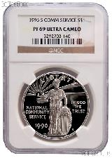 1996-S National Community Service Commemorative Proof Silver Dollar in NGC PF 69 Ultra Cameo