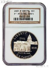 2001-P Capitol Visitor Center Commemorative Proof Silver Dollar in NGC PF 69 Ultra Cameo
