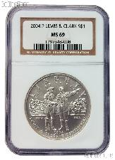 2004-P Lewis and Clark Bicentennial Commemorative Uncirculated Silver Dollar in NGC MS 69