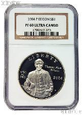 2004-P Thomas Alva Edison Commemorative Proof Silver Dollar in NGC PF 69 Ultra Cameo