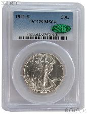 1941-S Walking Liberty Silver Half Dollar in PCGS MS 64 with CAC Verification Sticker