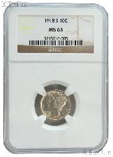 1918-S Mercury Silver Dime in NGC MS 63