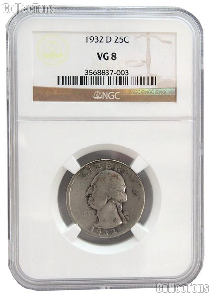 1932-D Washington Silver Quarter KEY DATE in NGC VG 8