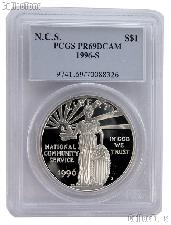 1996-S National Community Service Commemorative Proof Silver Dollar in PCGS PR 69 DCAM