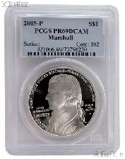 2005-P Chief Justice John Marshall Commemorative Proof Silver Dollar in PCGS PR 69 DCAM