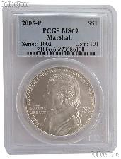 2005-P Chief Justice John Marshall Commemorative Uncirculated Silver Dollar in PCGS MS 69