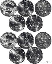 2013 National Park Quarters Complete Set P & D Uncirculated (10 Coins) NH, OH, NV, MD, SD