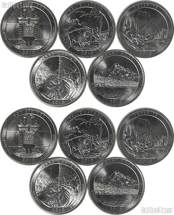 2010 National Park Quarters Complete Set P & D Uncirculated (10 Coins) AR, WY, CA, AZ, OR