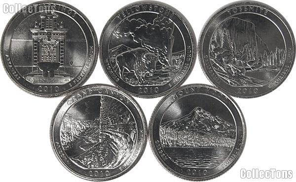 2010 National Park Quarters Complete Set Philadelphia (P) Mint  Uncirculated (5 Coins) AR, WY, CA, AZ, OR