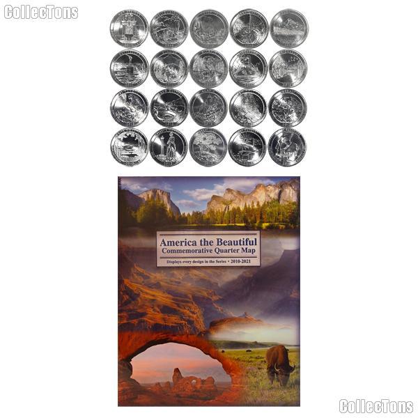 National Park Quarter Complete Set 2010-2014 (25 Coins) with Littleton Map