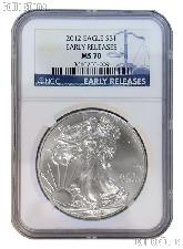 2012 American Silver Eagle Dollar in NGC Early Releases MS 70