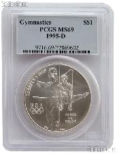 1995-D Gymnastics Atlanta XXVI Olympic Games Commemorative Uncirculated Silver Dollar in PCGS MS 69