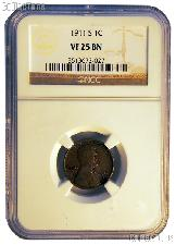 1911-S Lincoln Wheat Cent KEY DATE in NGC VF 25 BN (Brown)