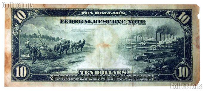 Ten Dollar Bill Federal Reserve Note Blue Seal Large Size Series 1914 US Currency
