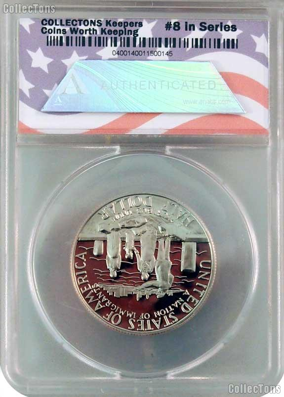 CollecTons Keepers #7 & #8: 1986 Statue of Liberty Centennial Commemorative Uncirculated and Proof Half Dollars Certified in Exclusive ANACS Holders