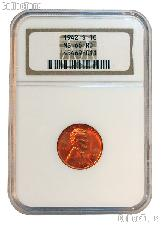 1942-S Lincoln Wheat Cent in NGC MS 66 RD (Red)
