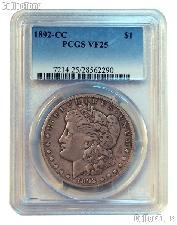 1892-CC Morgan Silver Dollar in PCGS VF 25