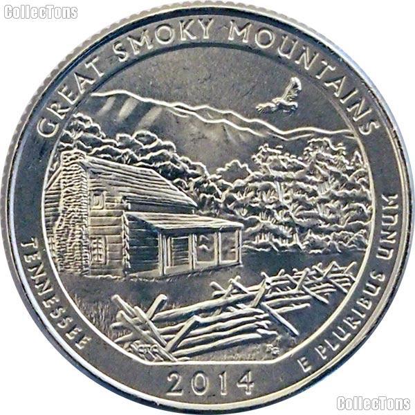 2014-P Tennessee Great Smoky Mountains National Park Quarter GEM BU America the Beautiful