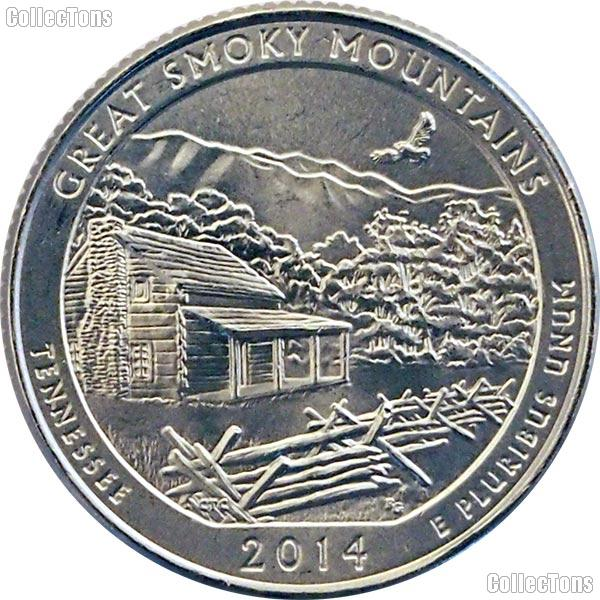 2014-S Tennessee Great Smoky Mountains National Park Quarter GEM BU America the Beautiful