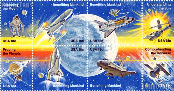 1981 Space Achievement 18 Cent US Postage Stamp Sheet MNH of 48 Scott #1912 - #1919