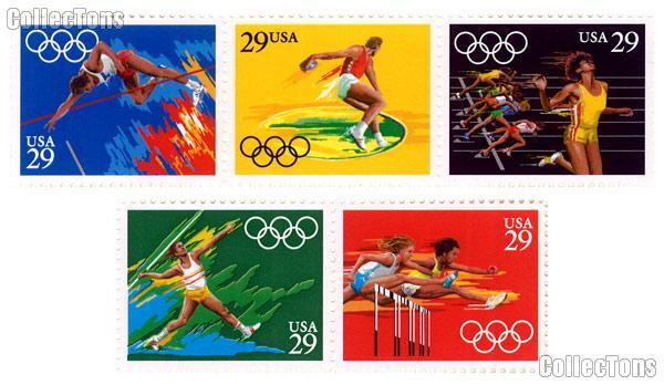 1991 Summer Olympics 29 Cent US Postage Stamp MNH Sheet of 40 Scott #2553  - #2557