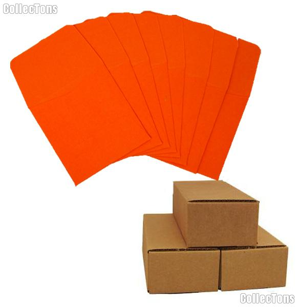 500 2x2 Orange Paper Coin Envelopes for Quarters