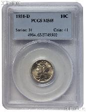 1931-D Mercury Silver Dime in PCGS MS 65