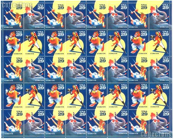 1993 Circus -  29 Cent US Postage Stamp MNH Sheet of 40 Scott #2750 - #2753