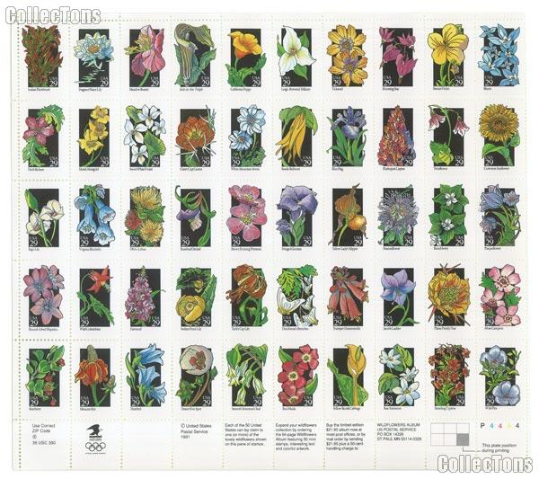 1992 Wildflowers of America 29 Cent US Postage Stamp MNH Sheet of 50 Scott #2647 - #2696