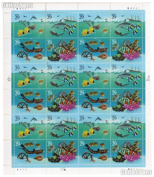 1994 Wonders of the Sea 29 Cent US Postage Stamp MNH Sheet of 24 Scott #2863 - #2866