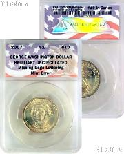 CollecTons Keepers #10: 2007 George Washington Golden Presidential Dollar Missing Edge Lettering Certified in Exclusive ANACS Brilliant Uncirculated Holder