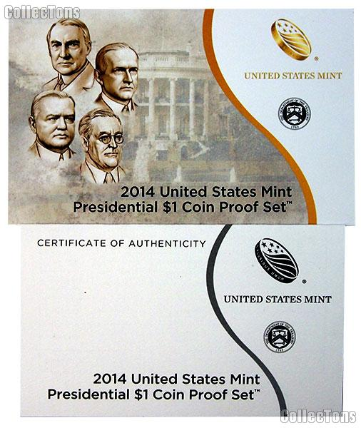 2014 U.S. Mint PRESIDENTIAL DOLLAR Proof Set OGP Replacement Box and COA
