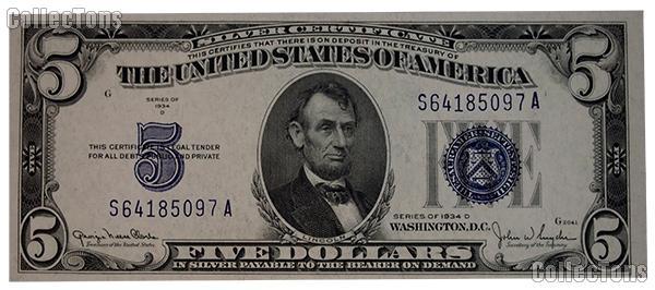 Five Dollar Bill Silver Certificate Series 1934 US Currency CU Crisp ...